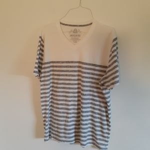 American Rag XL white and gray striped t shirt v